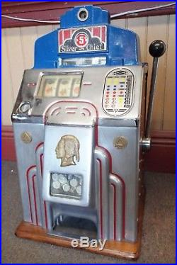 Antique 1930s JENNINGS SILVER CHIEF 5c Cent 3 Reel Manual SLOT MACHINE -WORKS