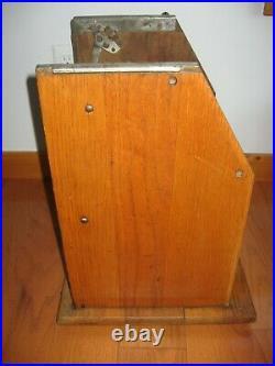 Antique 1930s Mills Castle Wood Cabinet Nickel 5 25 Cent Slot Machine Front Part