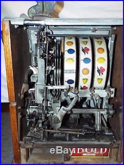 Antique 1934 WATLING WONDER BELL TWIN JACKPOT 5c Cent 3 Reel Manual SLOT MACHINE