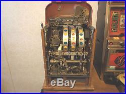 Antique 1935 Mills 10 Cent Hi-top Slot Machine Coin-op Works Nice