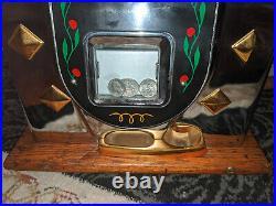 Antique 1940's Cast Iron Slot Machine DIAMOND FRONT 25 CENT Chrome Face Jackpot