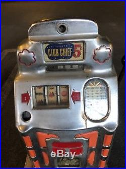 Antique 1940's Jennings Club Chief Nickel Slot Machine As Is