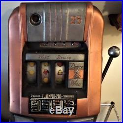 Antique 1940's Mills High Top 25 Cent Wild Deuce Slot Machine All Original