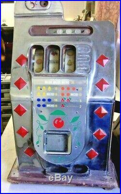 Antique 1940's Slot Machine MILLS DIAMOND FRONT 5 CENT Chrome Face withJackpot