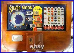 Antique 1941 Jennings & Company 5 Cent Silver Moon Console Slot Machine