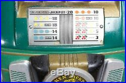 Antique 1947 Mills 5 Cent Token Bell Slot Machine Somewhat Working