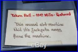 Antique 1947 Mills Token Bell 25 Cent Slot Machine, Restored
