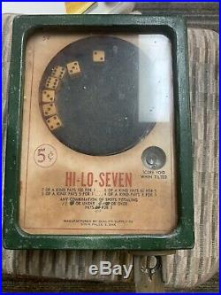Antique 5 Cent HI-LO-SEVEN Slot Machine Manufactured By Quality Supply Co