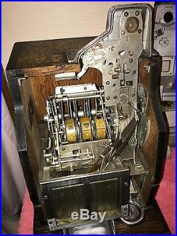 Antique 5 Cent Mills QT Slot Machine Coin Op Jackpot Very Nice