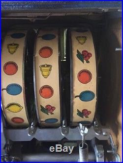 Antique 5¢ MILLS Novelty Blue Castle Front Coin Op Slot Machine Excellent