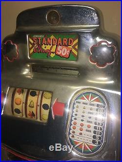 Antique 50 Cent Jennings Standard Club Chief Slot Machine Rare