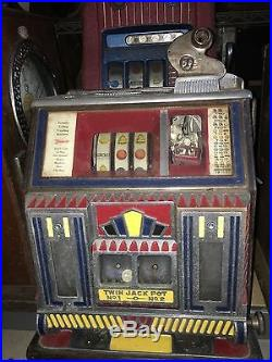 Antique 5c Watling Baby Twin Jackpot Torch VendorFront Slot Machine Rare