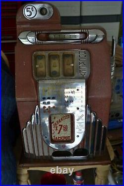 Antique Buckley Slot Machine 5 Cent Nice Working Original Local Pick-up In N. J