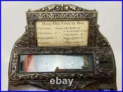 Antique Caille Good Luck Cigar Casino 5Wheel Penny Slot Machine Trade Stimulator