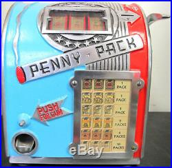 Antique Daval Penny Pack Three Reel Trade Stimulator Slot Machine Restored W Key