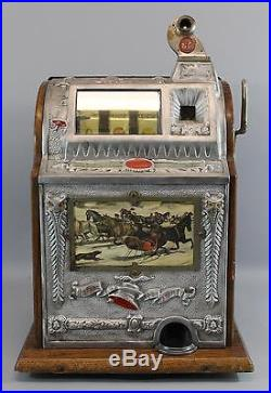 Antique Early 20thC Working Mills Owl Bell 5 Cent Slot Machine, NR