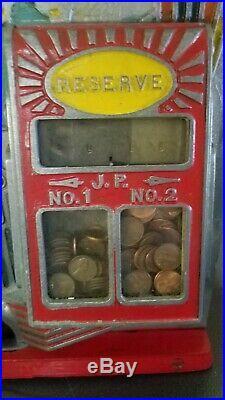 Antique Jennings 1 Cent Coin Op Little Duke Slot Machine Double Jackpot