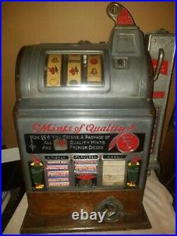 Antique Jennings 5 Cent Coin Op Slot Machine Mint Vendor Beautiful Machine
