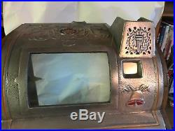 Antique Jennings Goose Neck Slot Machine Coin Op Cabinet Case With Handle Look