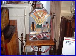 Antique Jennings Little Duke Penny Slot Machine Jackpot Payout and stand