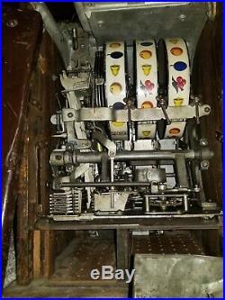 Antique Lion Head Mills Five Cent Slot Machine Original Unrestored Uncleaned