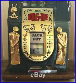 Antique MILLS HOLE IN ONE 25 Cent GOLF Theme Slot Machine withBase. Tested + Works