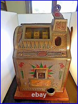Antique Mills 10 Cent Art Deco Slot Machine, c. 1925 Gooseneck WORKS GREAT