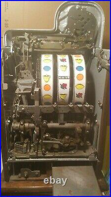 Antique Mills 5 Cent Black Cherry Coin Op Slot Machine With Jackpot Beautiful