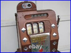 Antique Mills 5 cent Diamond Front Slot Machine