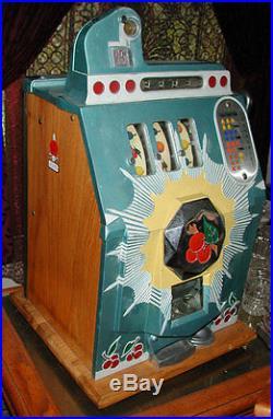 Antique Mills Bursting Cherry 25c Slot Machine Nice Condition, Mech GoneThrough