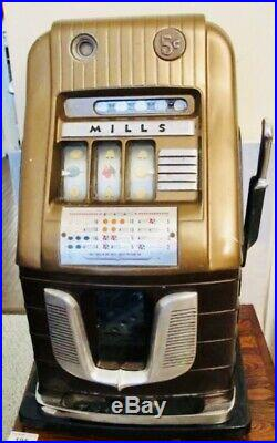 Antique Mills Five (5) Cent Hi-top Slot Machine Coin-op Art Deco Works Great