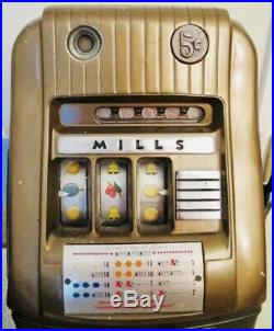 Antique Mills Five (5) Cent Hi-top Slot Machine Coin-op Art Deco Works Great