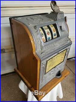 Antique Mills Owl Operators Bell 25 Cent Slot Machine Vintage Quarter Free Ship
