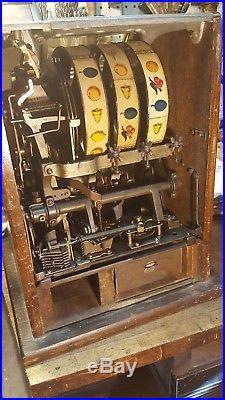 Antique Mills Slot Machine 5 Cent Nickel Poinsettia- Working Unrestored