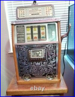 Antique Nickel Slot Machine 1928 Caille Bros Superior Bell Jackpot Art Deco