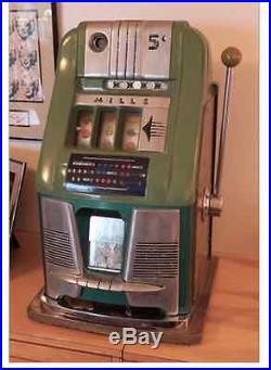 Antique Original MILLS NICKEL SLOT ARCADE Jackpot Gambling Slot Machine 1940s