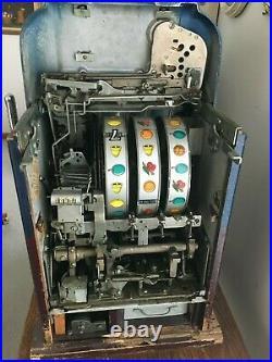 Antique Original Mills Slot Machines Hi Top Triple 7's- nickel, dime, quarter