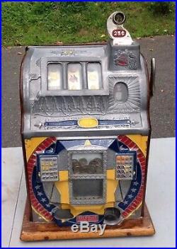 Antique ROCK-OLA Triple Jackpot 25c Slot Machine