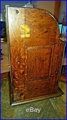 Antique Rock-Ola Nickel Gooseneck Slot Machine Original Condition Works