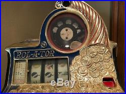 Antique Rol-A-Top Coin Front 5c Slot Machine Gold Plated Front vintage