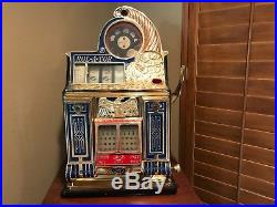 Antique Rol-A-Tor Coin Front 5c Slot Machine Gold Plated Front vintage Rol-a-Top
