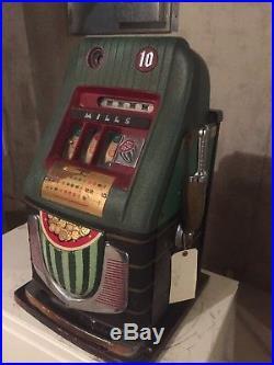 Antique Slot Machine 1940's Mills Watermelon Dime Original works perfectly