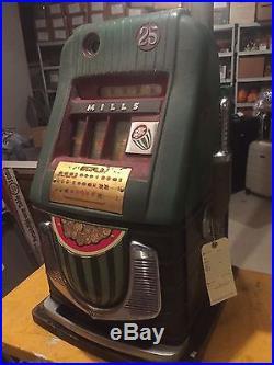 Antique Slot Machine 1940's Mills Watermelon Quarter Original works perfectly