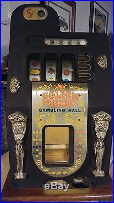 Antique Slot Machine, Golden Nugget Black, Nickel, Mills Co, 1947 Works Great