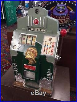 Antique Slot Machine. Indian Chief. Restored to New