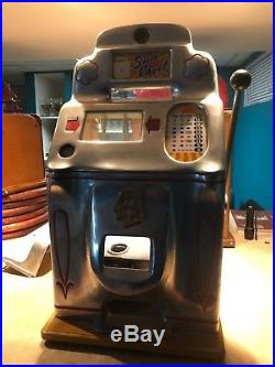 Antique Slot Machine Jennings Chrome Sun Chief Nickel Seized, broken Reel Kicker