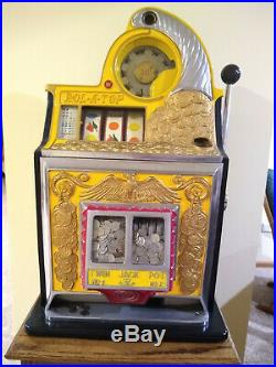 Antique Slot Machine Watling Coin Front Rol-A-Top Eagle with oak stand