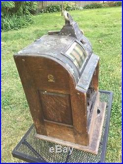 Antique Trade Stimulator 3 Wheel 5¢ Slot Machine Ode D Jennings Chicago Mills