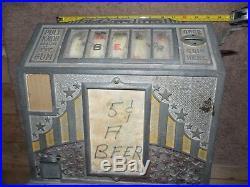 Antique Vintage 5 Cent Gum Vendor Slot Machine Rare