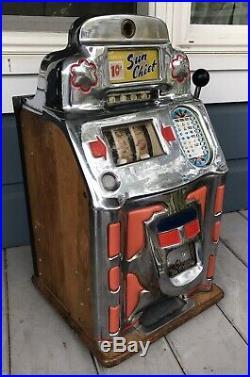 Antique Vintage Art Deco JENNINGS 10 Cent Sun Chief Club Chief Slot Machine